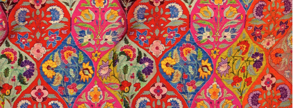 Red ethnic embroidery with flowers