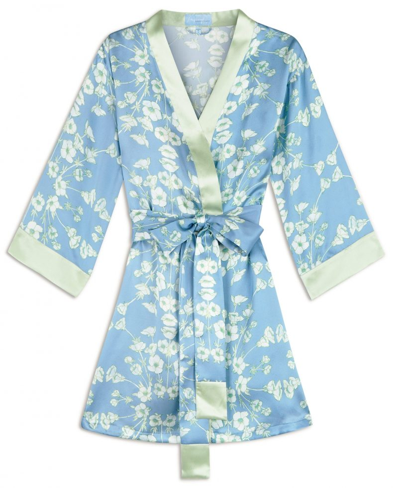 light blue buttercup floral print silk robe
