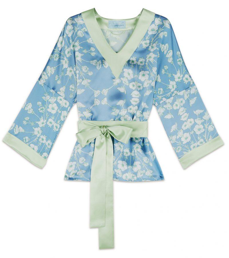 light blue buttercup floral print silk tunic