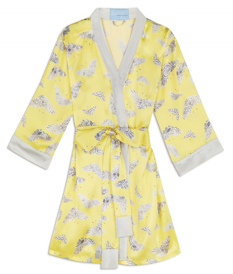 yellow moth print silk robe