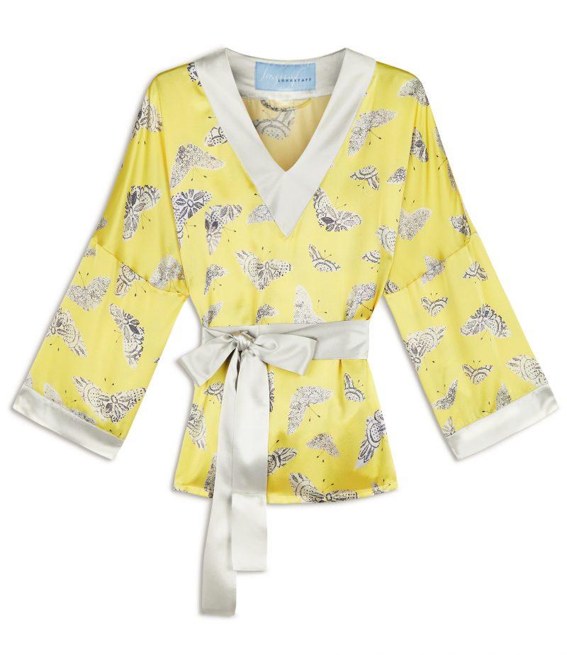 yellow moth print silk tunic