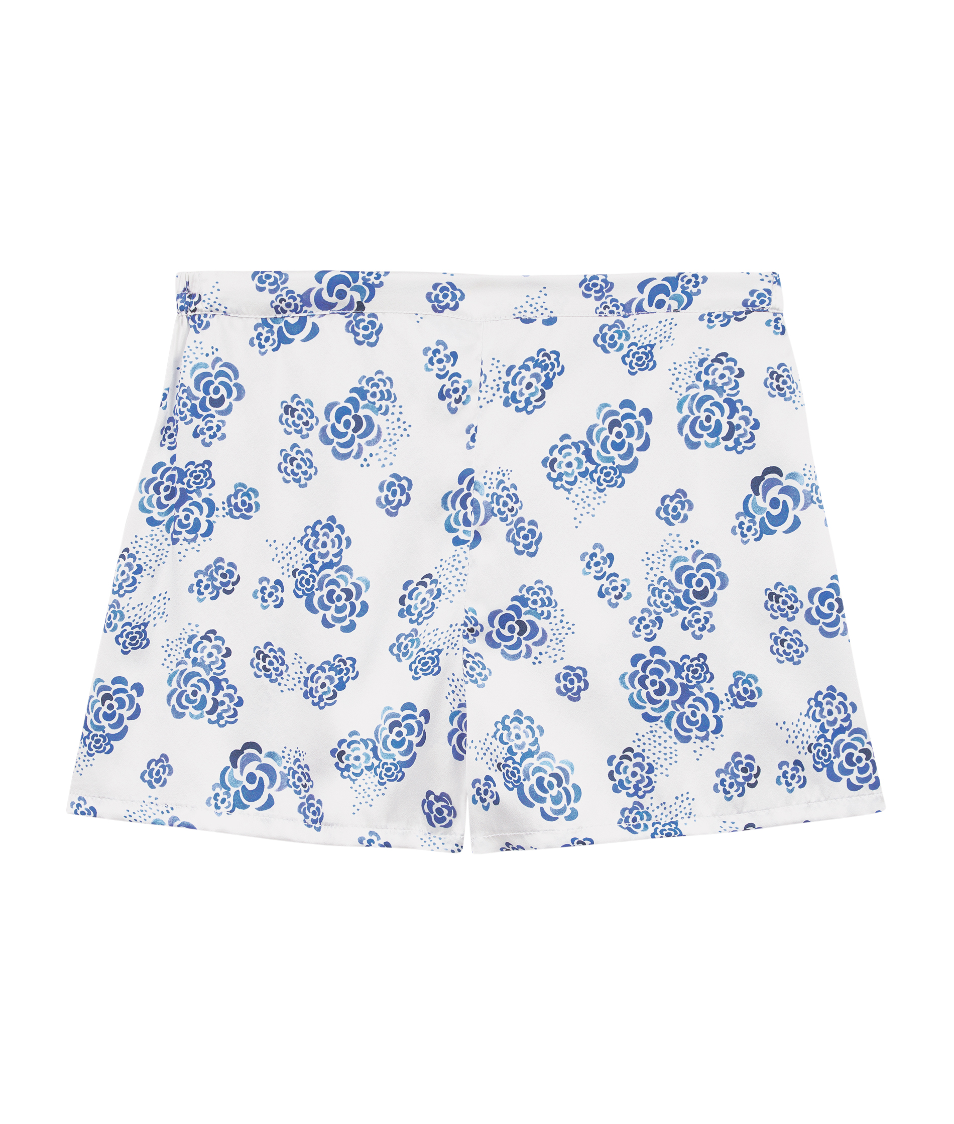 496611bc Luxury Ladies White, Blue Floral Silk Pyjama Shorts UK, Ditsy Lotus ...