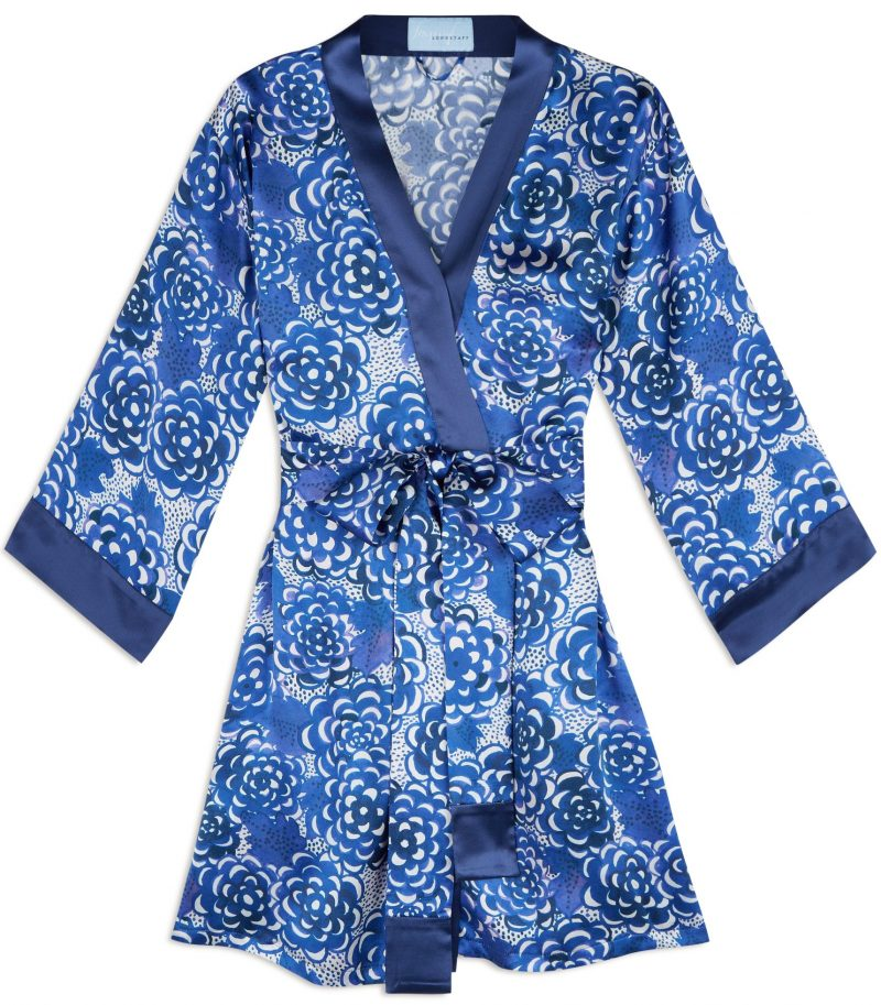 blue lotus flower print silk robe