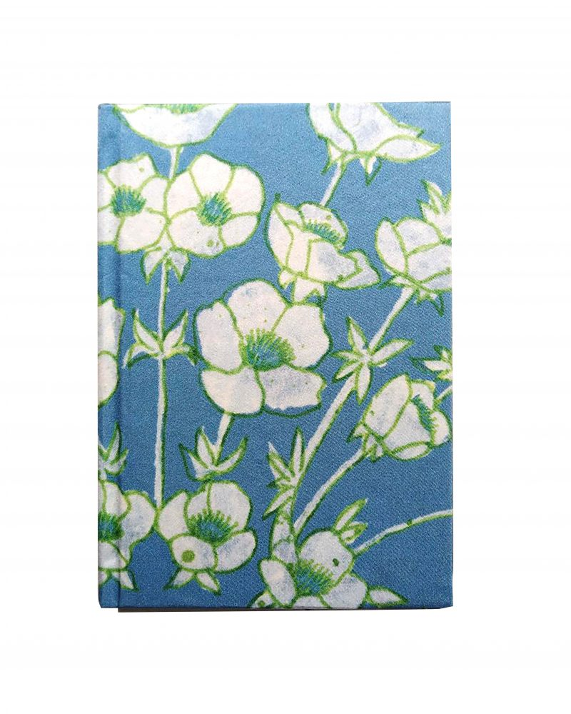 a6 silk notebook, blue background, floral print