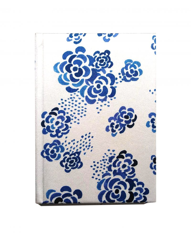 a6 silk notebook, white background, blue floral print