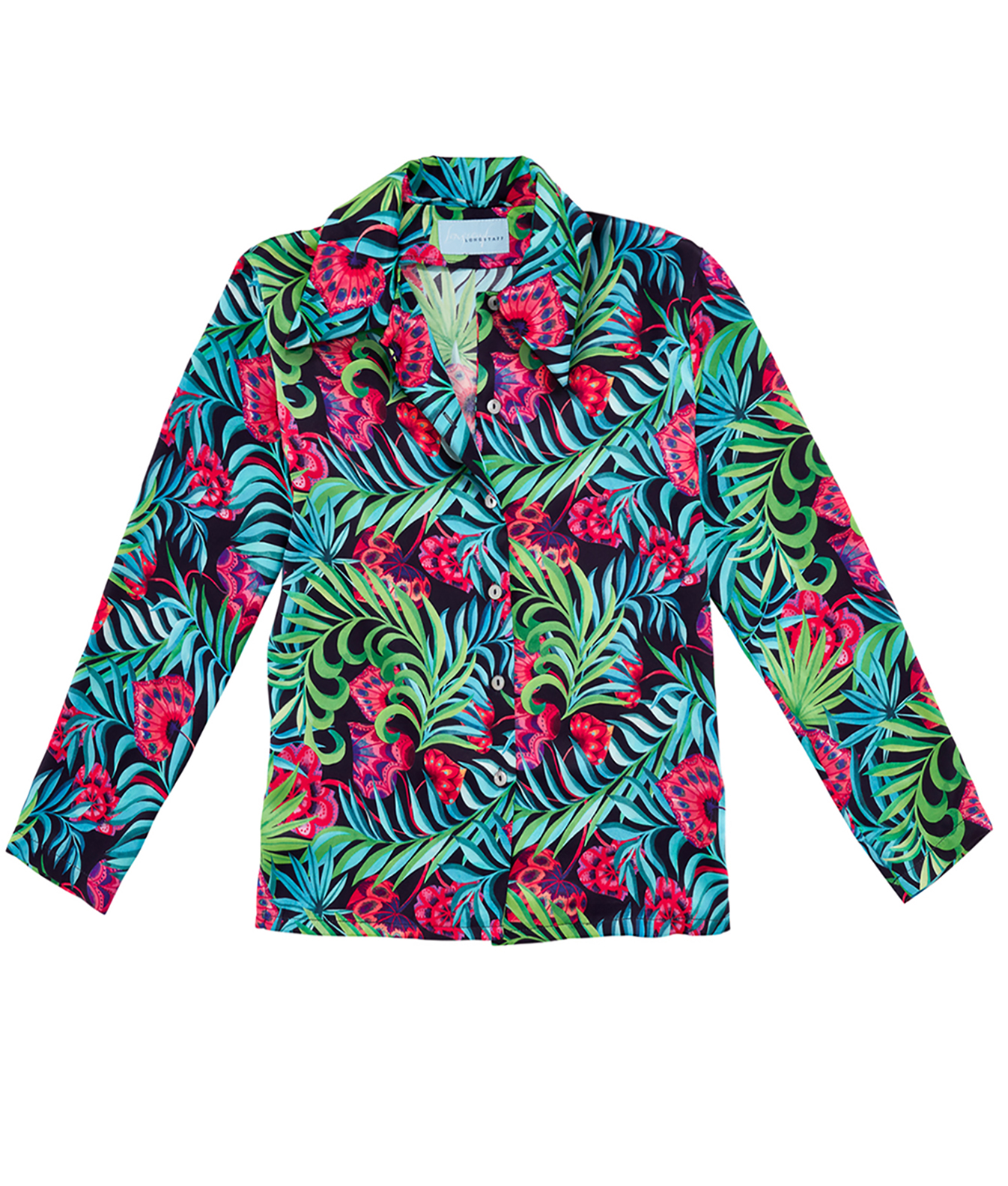 Longstaff Longstaff, Sophie Barnard, Made in England, designer, couture, silk, pyjamas, pyjama top, glass hearts, jungle, tropical