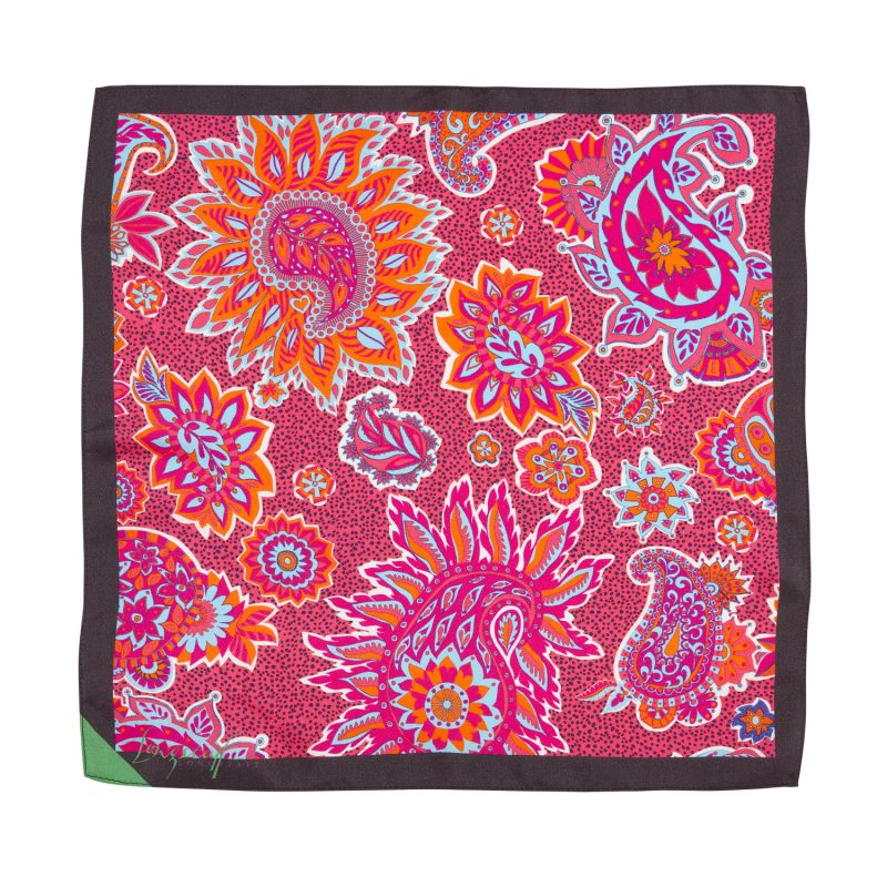 pink paisley, silk pocket square