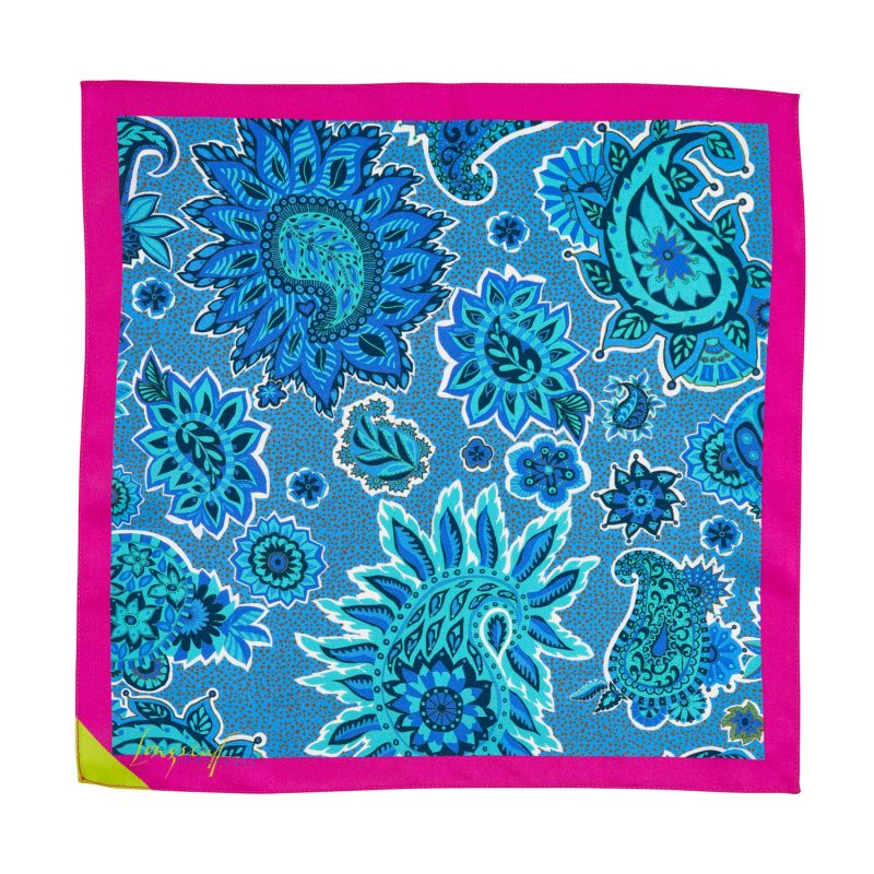 light blue and hot pink, paisley pocket square, silk