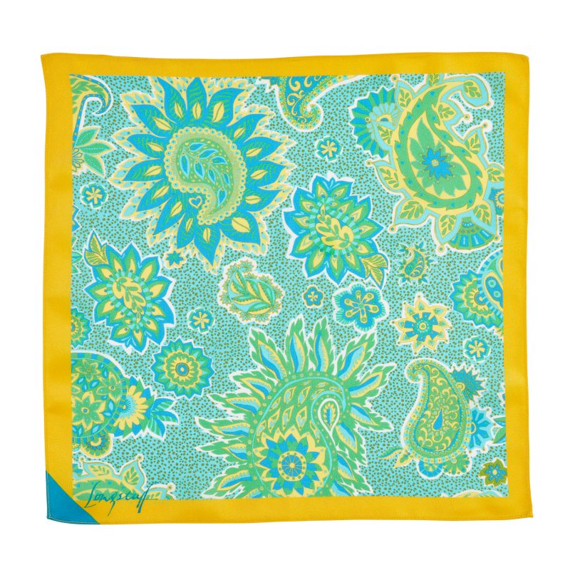 Light blue and yellow paisley silk pocket square