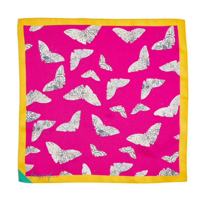 pink and yellow moth print silk pocket square
