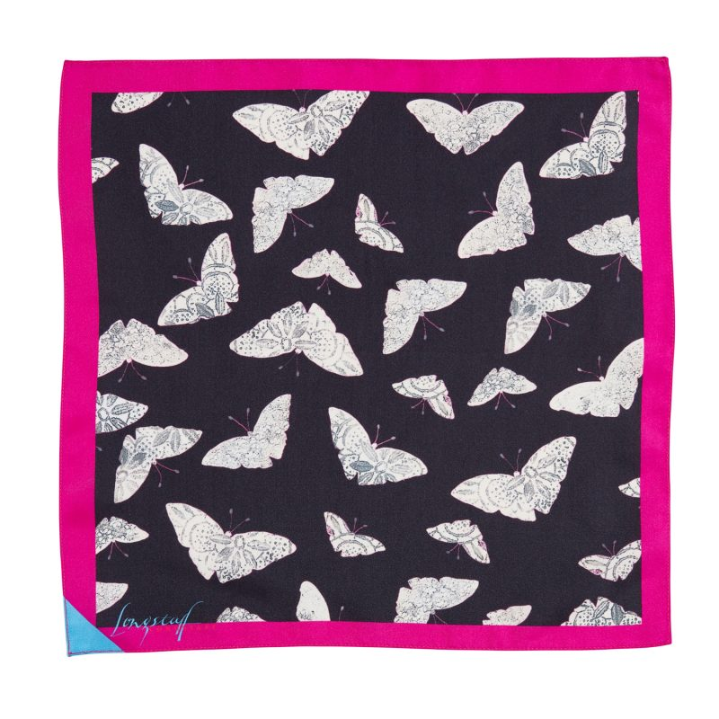 black and pink moth print silk pocket square