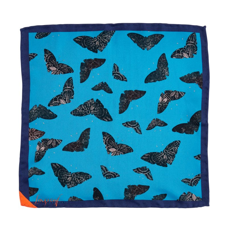 light and dark blue moth print, silk pocket square