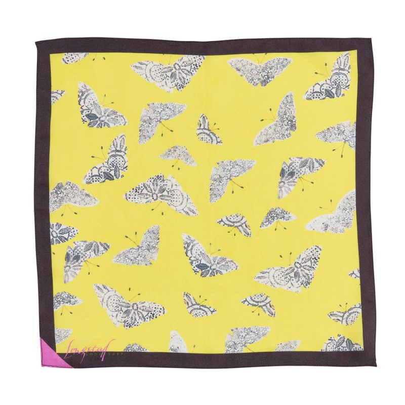yellow and black moth print silk pocket square