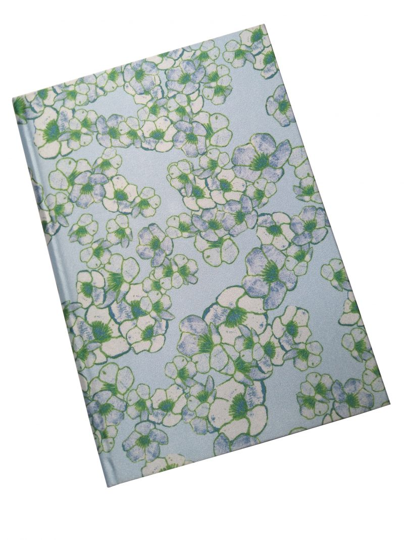 light blue floral buttercup silk a5 notepad
