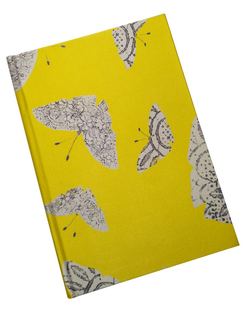 yellow lace moth patter silk a5 notepad