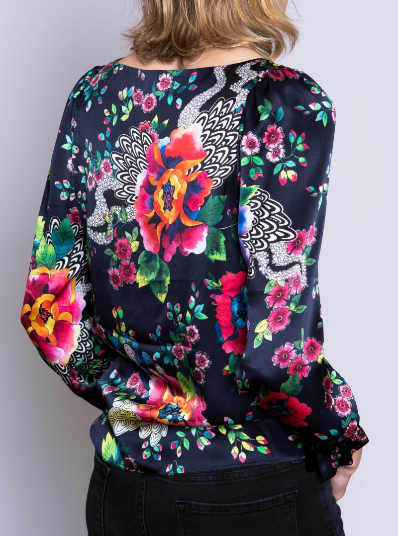 back of silk blouse, navy background with floral print