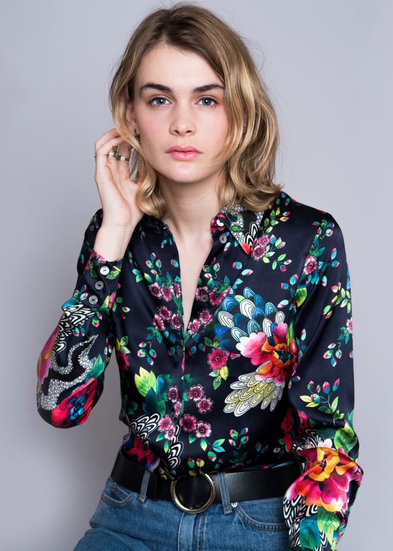 blonde model, silk shirt, floral print