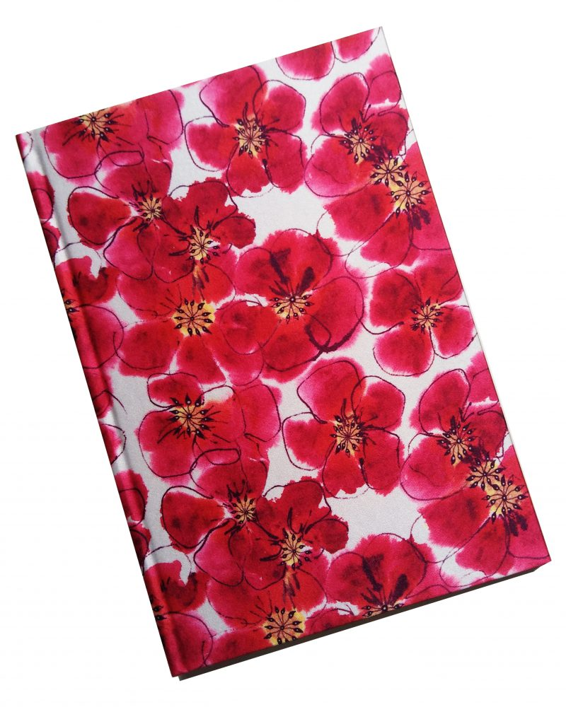 a5 silk notebook, watercolours, pink floral print