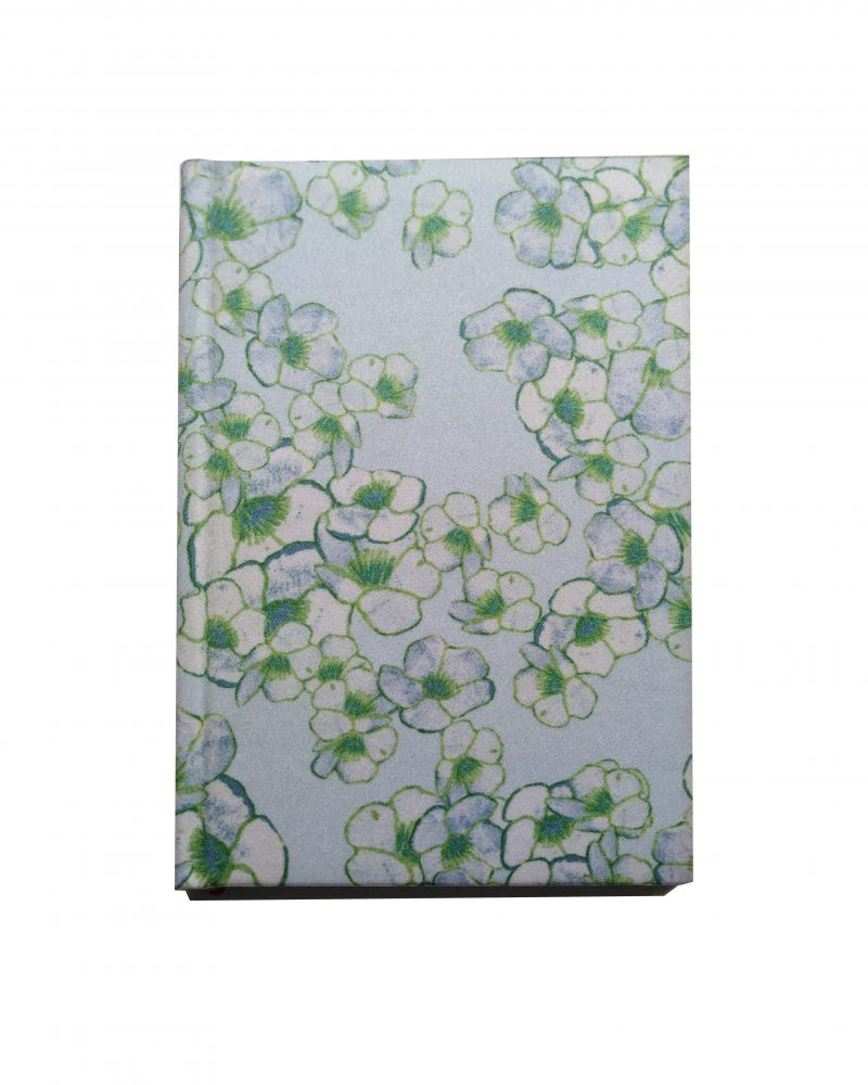a6 silk notebook, floral print, light blue with green