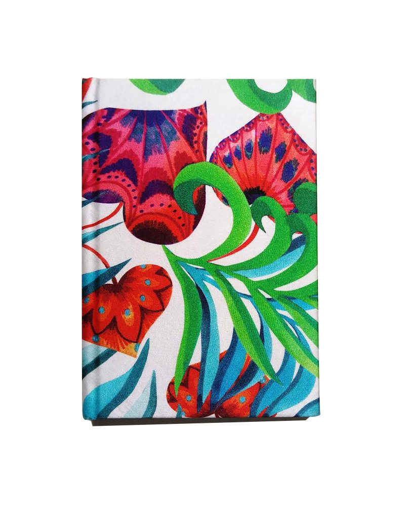 a6 silk notebook, reds, greens and blues floral print