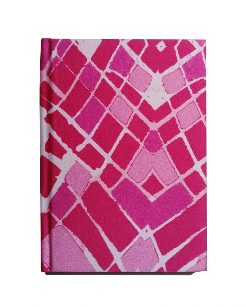 a6 silk notebook, dark pink to lighter pinks