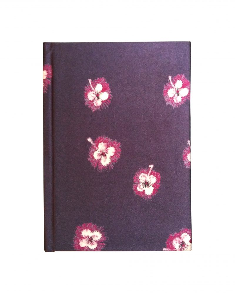 a6 silk notebook, dark purple with pink