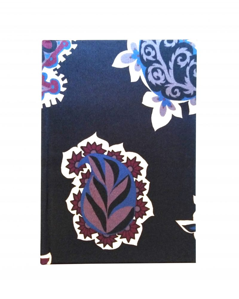 a6 silk notebook, dark navy colours with purple