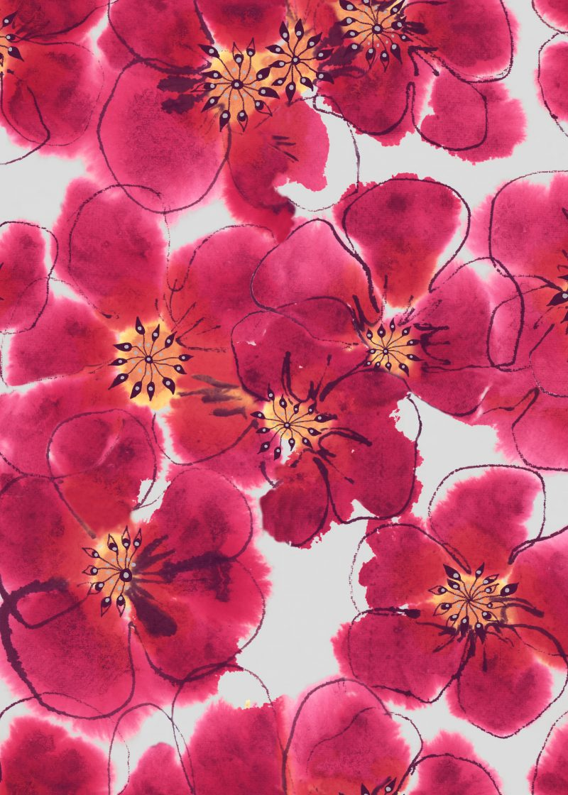 watercolour flowers, floral print, hand painted