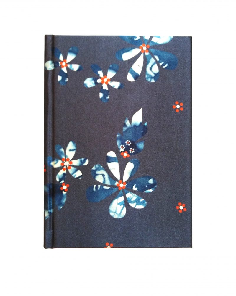 a6 silk notebook, dark navvy with lighter, red