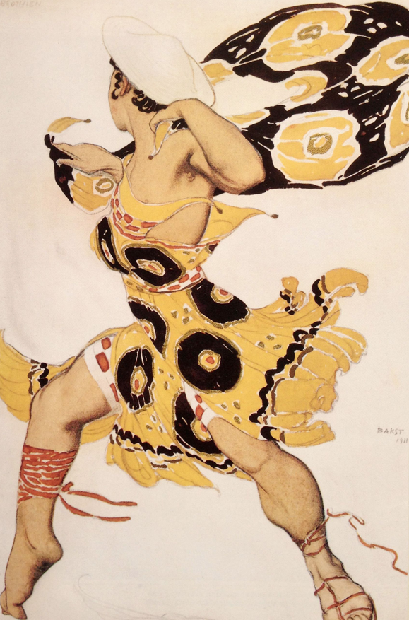 Costume design by Russian designer Leon Bakst for a Young Beotian