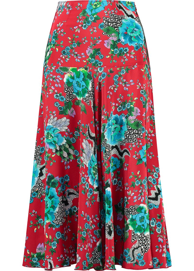 dramatic floral print on red silk crepe de chine