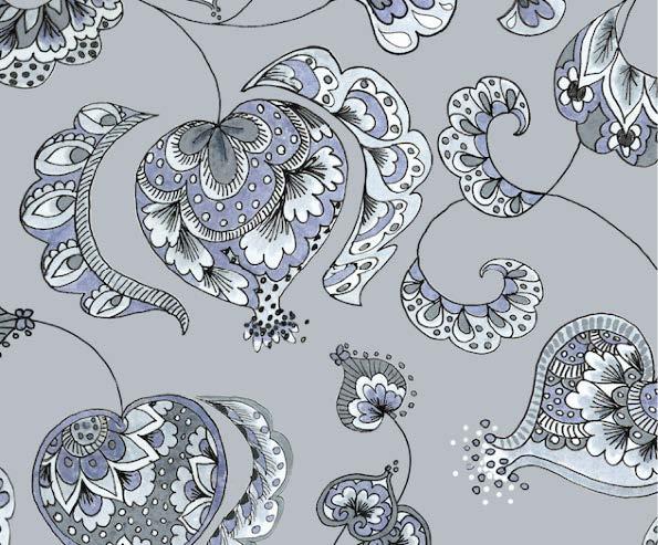 silver pomegranate print
