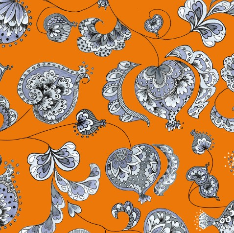 tangerine pomegranate print